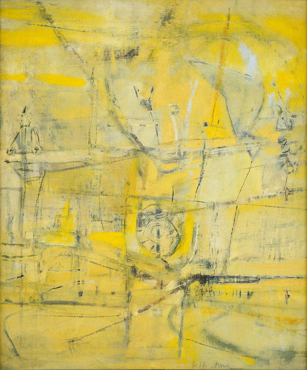 Hedda Sterne,  Yellow Structure,  1952, Oil on canvas, 24 1/4 in. x 20 1/4 in.