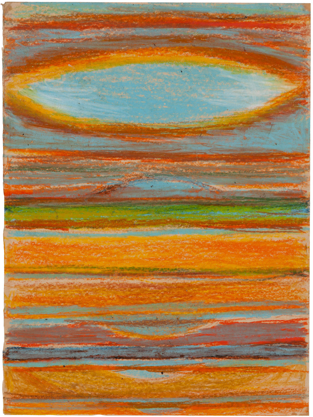 Hedda Sterne, Horizon Study, 1964, Oil pastel on paper, 19 in. x 14 in., Collection of the Berkeley Art Museum and Pacific Film Archive