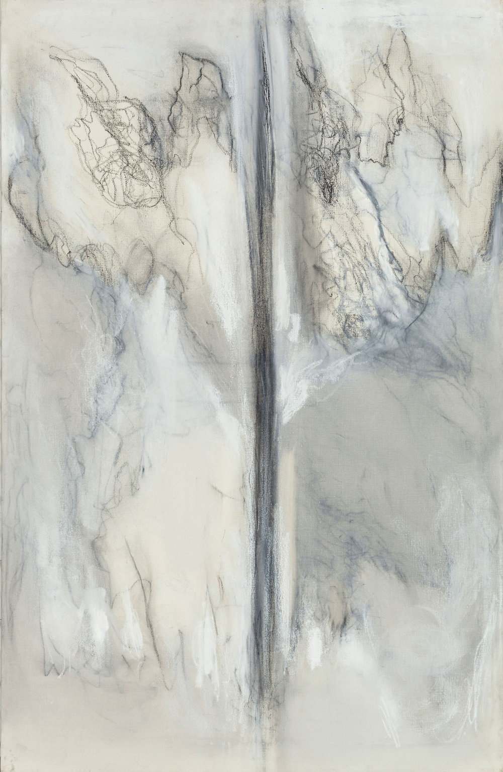 Hedda Sterne,  Untitled , c. 1996, Oil, pastel on canvas, 40 in. x 26 in.