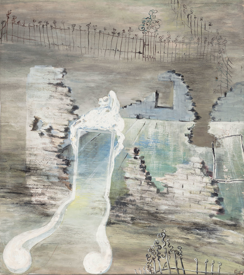 Hedda Sterne,  Untitled , c. 1941, Gouache on paper, 21 1/4 in. x 18 1/2 in. (53.98 cm x 46.99 cm)