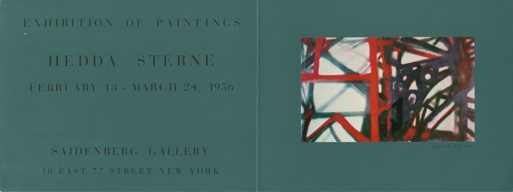 Exhibition announcement for Hedda Sterne's solo exhibition at Saidenberg Gallery, 1956, featuring the painting  New York, N.Y. 1955  (1955)