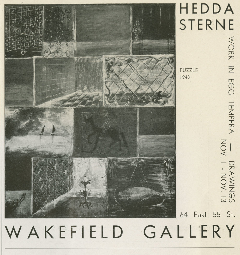 Exhibition announcement for Hedda Sterne's first solo exhibition in the U.S. at Wakefield Gallery, published in View magazine 1943