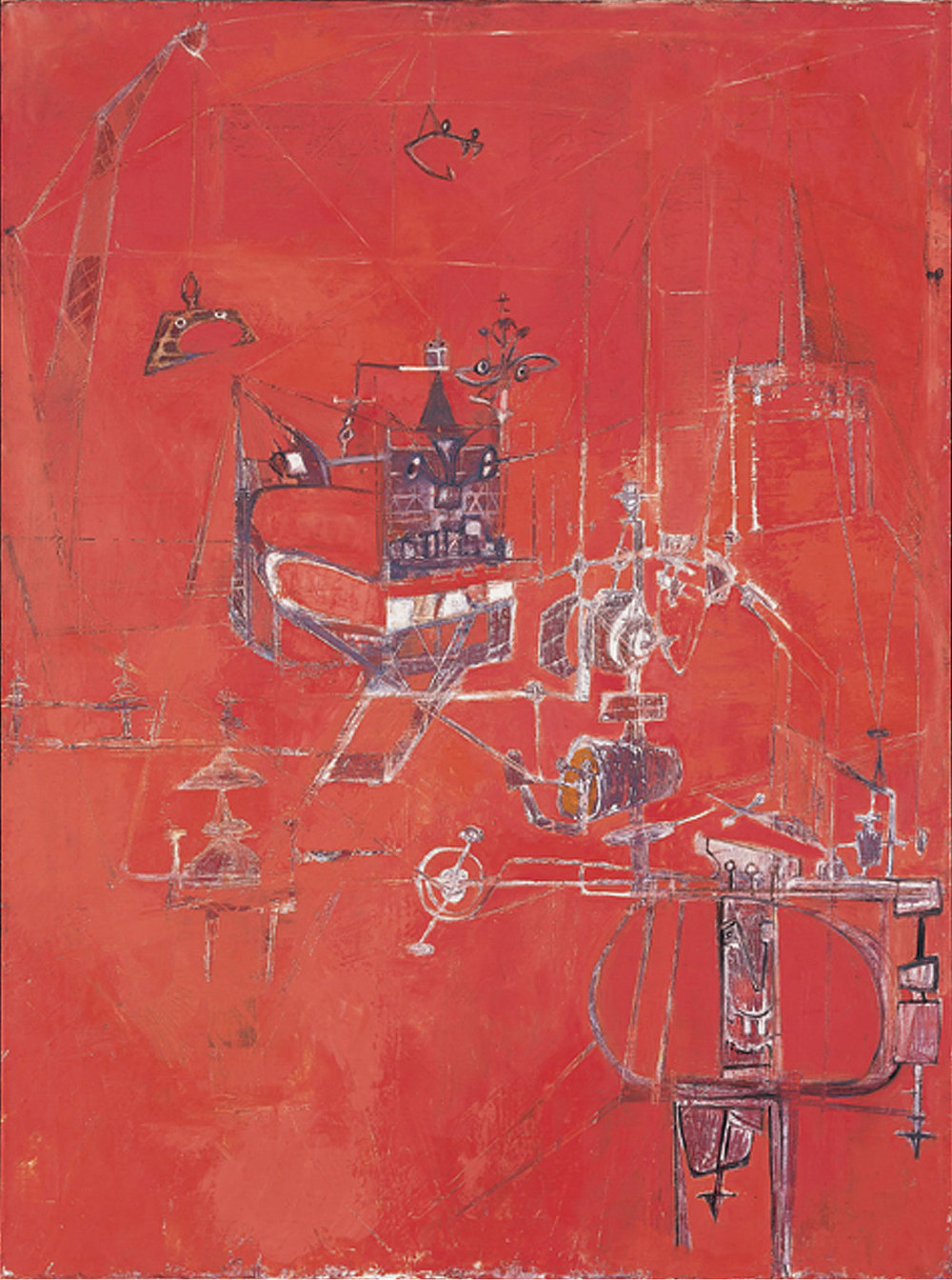 Hedda Sterne, Machine 5, 1950, Oil on canvas, 51 x 38 1/8 in., Collection of Krannert Art Museum and Kinkead Pavilion, University of Illinois at Urbana-Champaign, Festival of Arts Purchase Fund, 1950-7-1