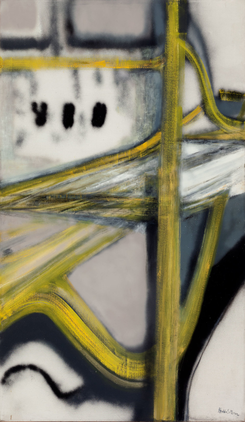 Hedda Sterne,Roads #5, 1957, Oil, spray paint on canvas,86 in. x 50 in.