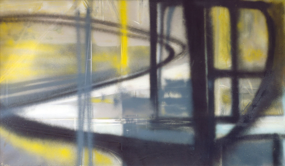 Hedda Sterne,  Manhattan No. 1 , 1958, Oil, spray paint on canvas, 42 in. x 72 in.