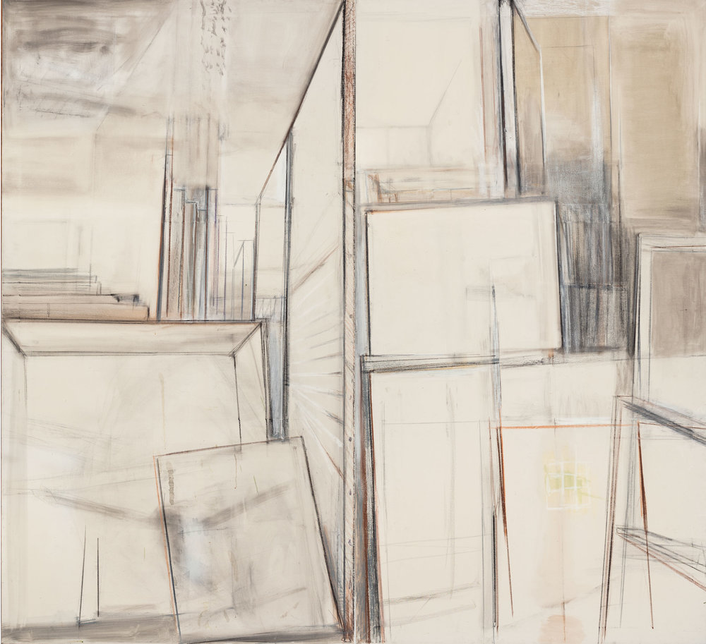 Hedda Sterne, Studio Diptych, 1960-61, Oil on canvas, 85 in. x 92 in. overall