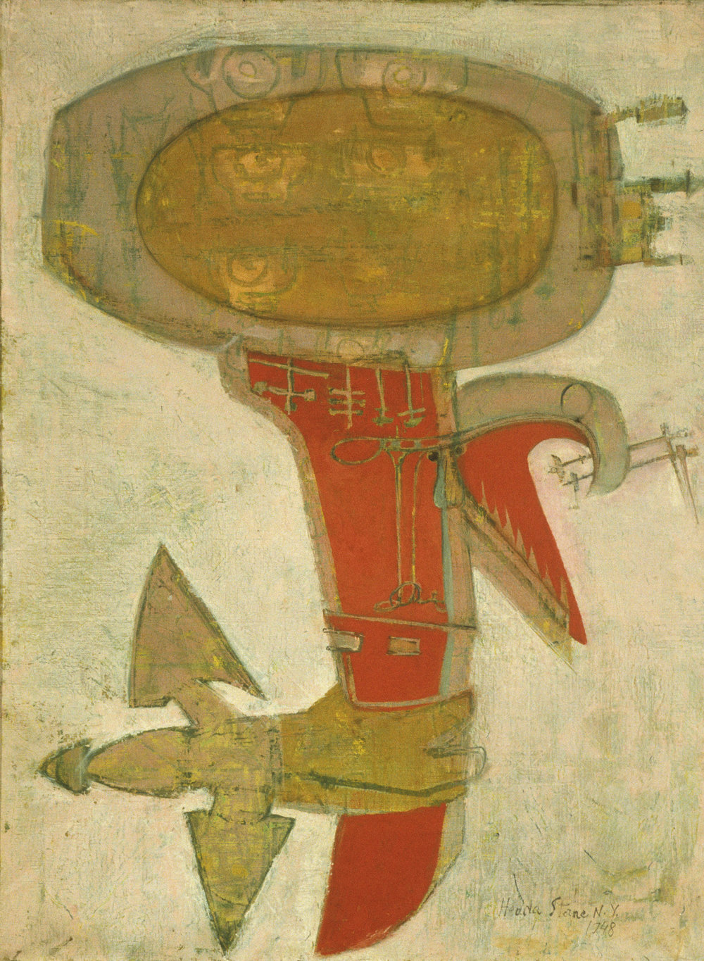 Hedda Sterne,Outboard Motor, 1948, Oil on canvas, 31 3/4 in. x 23 5/8 in., Collection of The Heckscher Museum of Art; Gift of the artist in memory of Betty Parsons, 1999.28