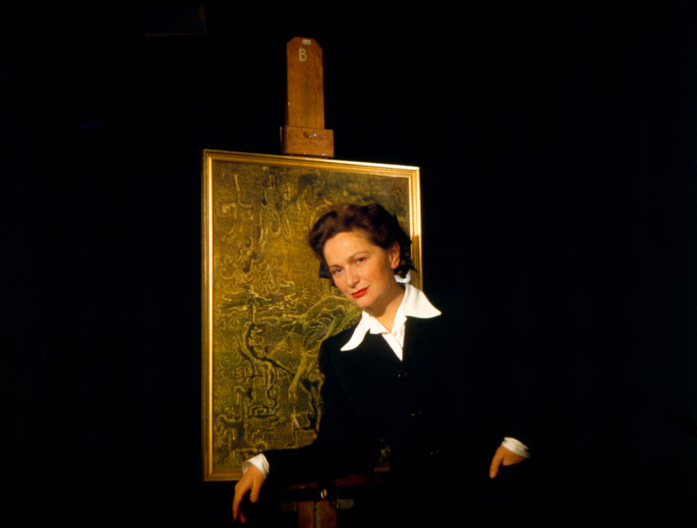 Hedda Sterne with her painting, c. 1943