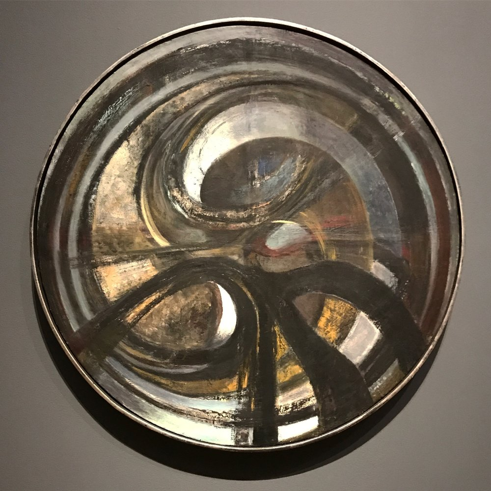 Hedda Sterne,  Tondo , ca. 1953, Oil on canvas, 77 cm (30 3/8 in) diameter; Collection of Yale University Art Gallery, Gift of Susan Morse Hilles, 1984.75.7