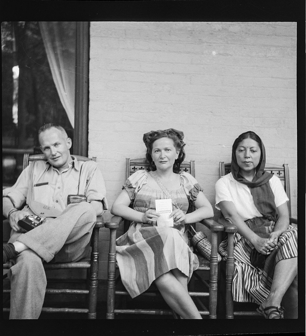 Photograph of Hedda Sterne with Henri Cartier-Bresson and Ratna Mohini in Mexico City, 1947  |  Image scanned from medium-format film negative from the Hedda Sterne Papers in the Foundation's Archive collection