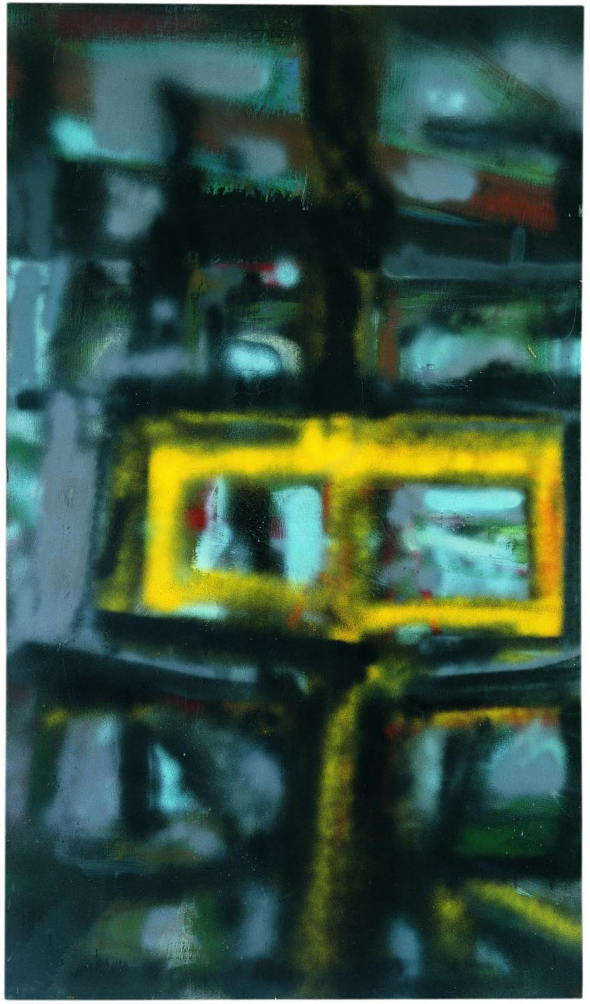 Hedda Sterne,  N.Y. 1  ( Road #4 ), 1956, Oil, spray paint on canvas, 86 x 50 in.; Collection of the Krannert Art Museum and Kinkead Pavilion, University of Illinois at Urbana-Champaign; Gift of the artist, 2006-3-1