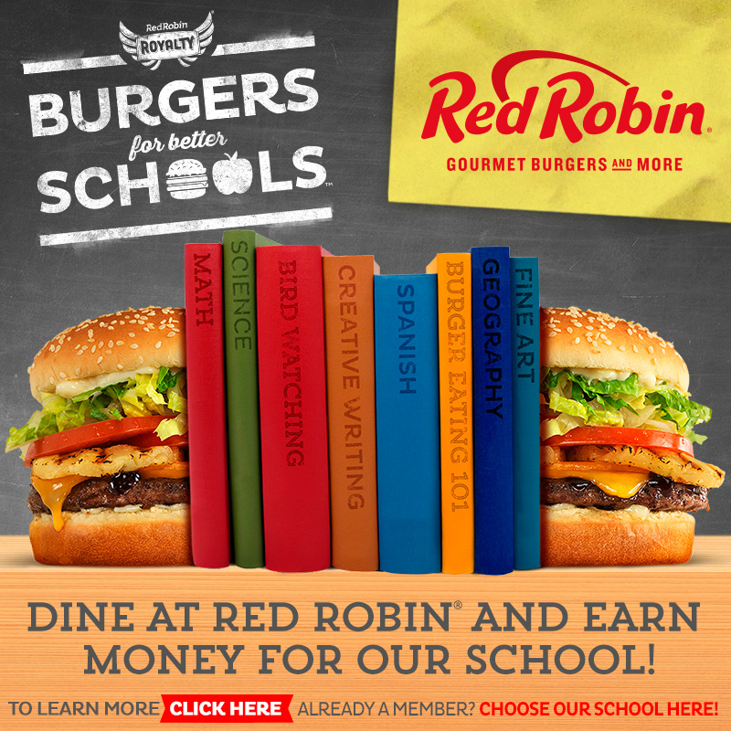 Red Robin Burgers for Schools Program   Red Robin will donate 1% (and sometimes more!) of your purchases to KWoods if you sign up to their Burgers for Schools program:     http://www.redrobin.com/betterschools.html