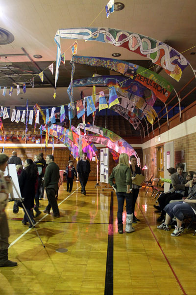 Kensington Woods students' sails on display at the Great Lakes Project Exhibition.