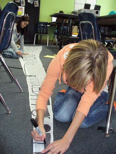 Kensington Woods AP English students work on their sails as part of the Great Lakes Project.