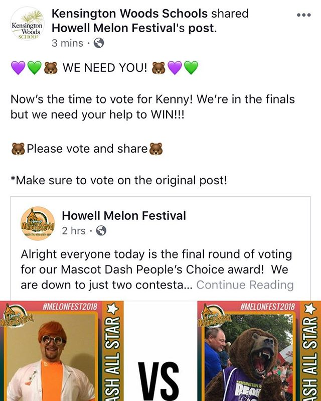 Head on over to our Facebook Page to vote for Kenny to win the Howell Melon Festivals Mascot People's Choice award and see him run in the Mascot Dash tonight at 6:30!
