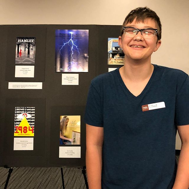 Ethan Streetman with his Top Ten Book Cover at the Kerrytown Book Cover Contest reception!