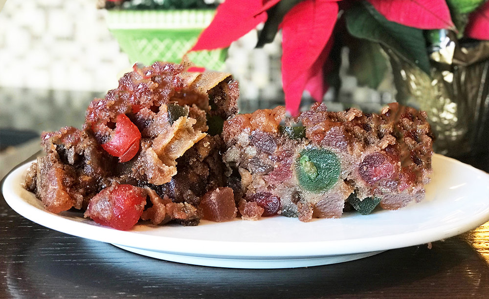 Fruitcake - Dried cherries, pineapple and nuts. Festively spiced and soaked in Brandy.