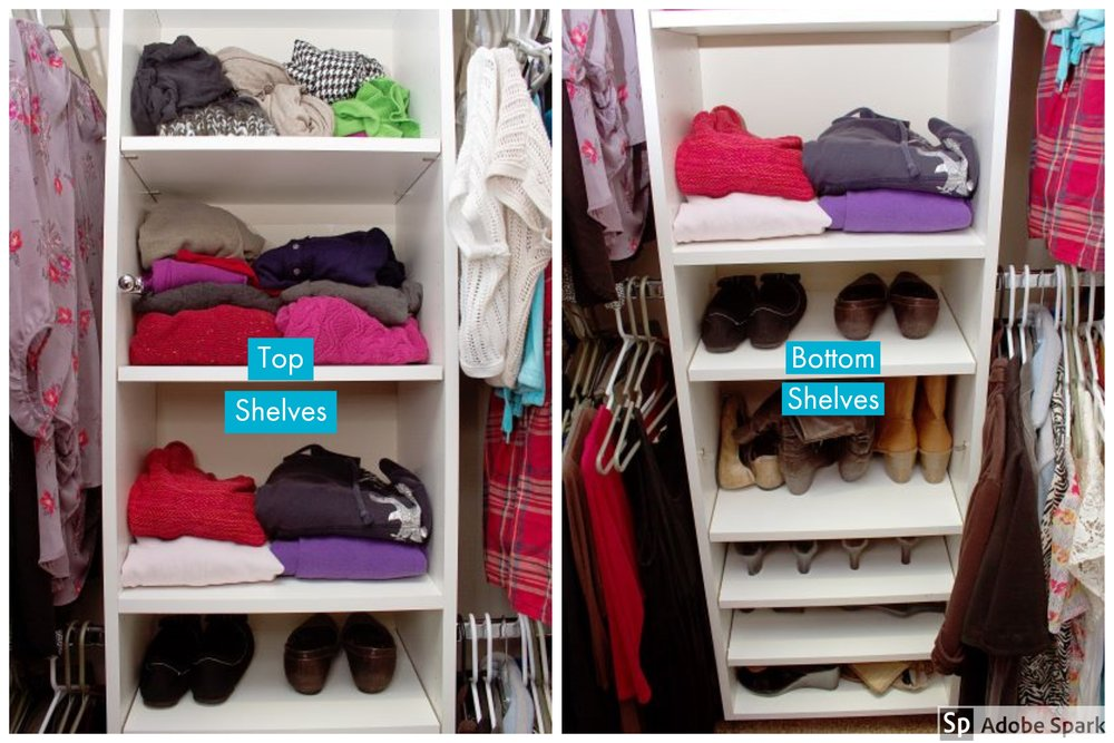 After we added an adjustable shelving unit, this customer was able to place her sweaters and scarves on the top shelves and her shoes in the middle and bottom shelves. This particular client had additional storage for her larger items, making more room for her numerous shoes.