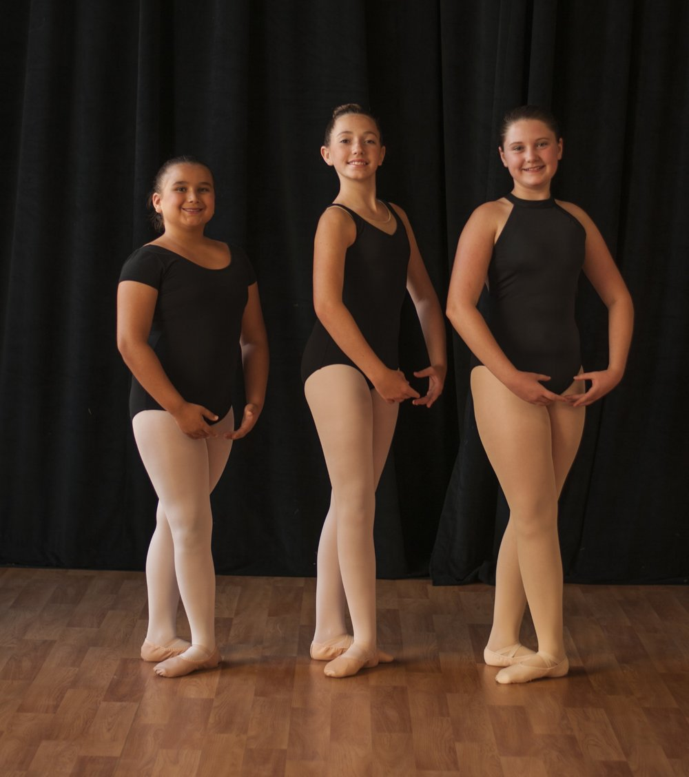 Pre-Grade I, Cecchetti Grade I-Advanced - Black leotardPink footed or convertible dance tights (no specific brand required) - tights must be worn in ballet shoes or pointe shoesPink leather or canvas ballet shoesHair in a ballet bunNo skirts, sweaters, or leg warmers allowed
