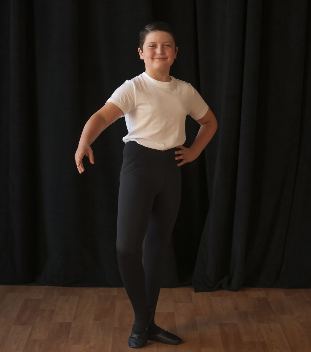 Ballet - White or Black solid colored fitted short sleeve shirtBlack boys/mens ballet tightsBlack canvas or leather ballet shoes with elastic sewn into placeHair should be pulled back and away from the faceBoys 11 years of age and older are required to wear a dance belt. If you have questions regarding dance belts speak with the store manager.