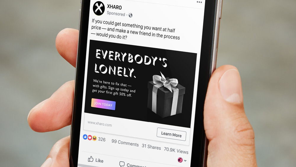 A Facebook post advertising  XHARO 's launch promotion, funded through a partnership with Amazon. Facebook's user data allows  XHARO  to target people with fewer friends or a relatively homogeneous friend group.