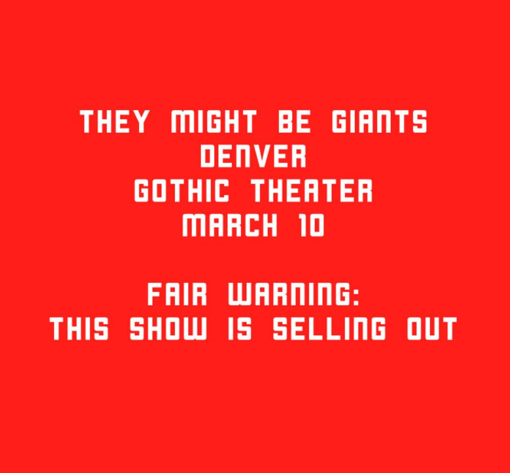 3.10 Denver CO  http://bit.ly/tmbg0310