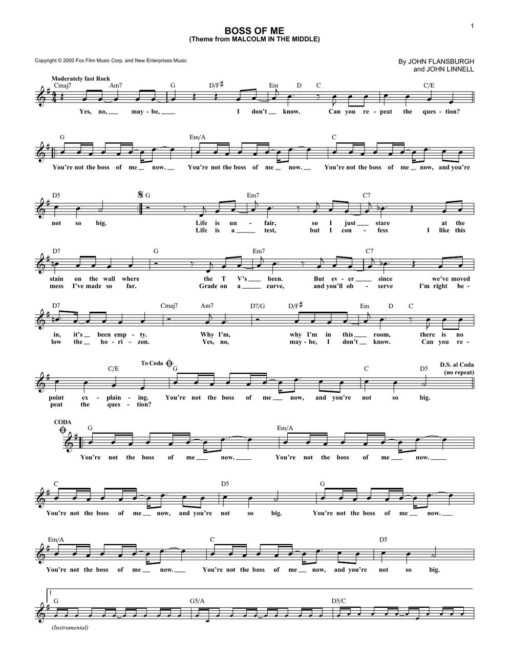 Boss of Me sheet music.png