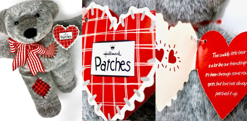 Before Salvatore started this agency, he worked in the Hallmark   Home & Gifts   Department in Kansas City, MO creating full 8 foot long retail displays (found in Hallmark stores across the world). This Patches hangtag was one solution of many for a complete Valentine's day set of products.