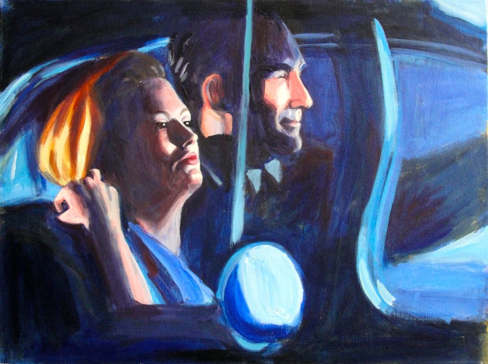 DRIVING HOME FROM THE PARTY (2013). Acrylic on canvas, 18 x 24 inches. Private collection, U.S.