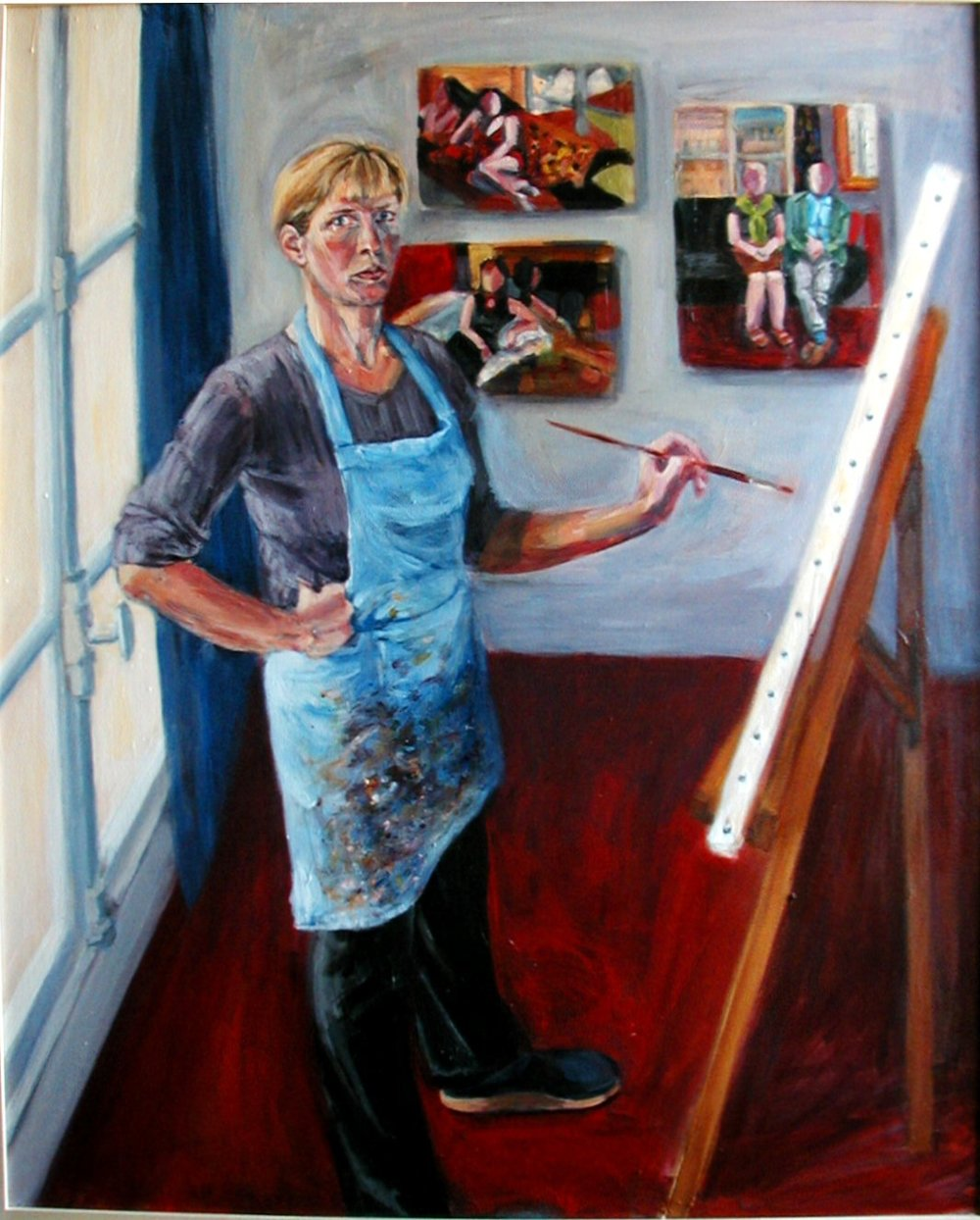 SELF-PORTRAIT WITH EXPATS (2004). Acrylic on canvas, 30 x 40 inches