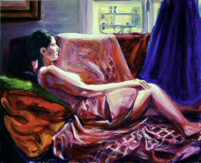 CLAUDIA ODALISQUE (2003). Acrylic on canvas, 30 x 40 inches. Private collection, U.S.