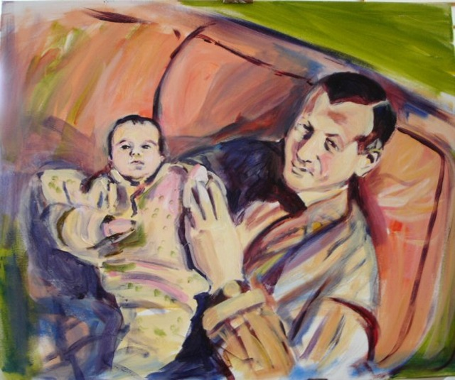 DOOLEY AND EVA (2005). Acrylic on canvas, 18 x 24 inches. Private collection, U.S.