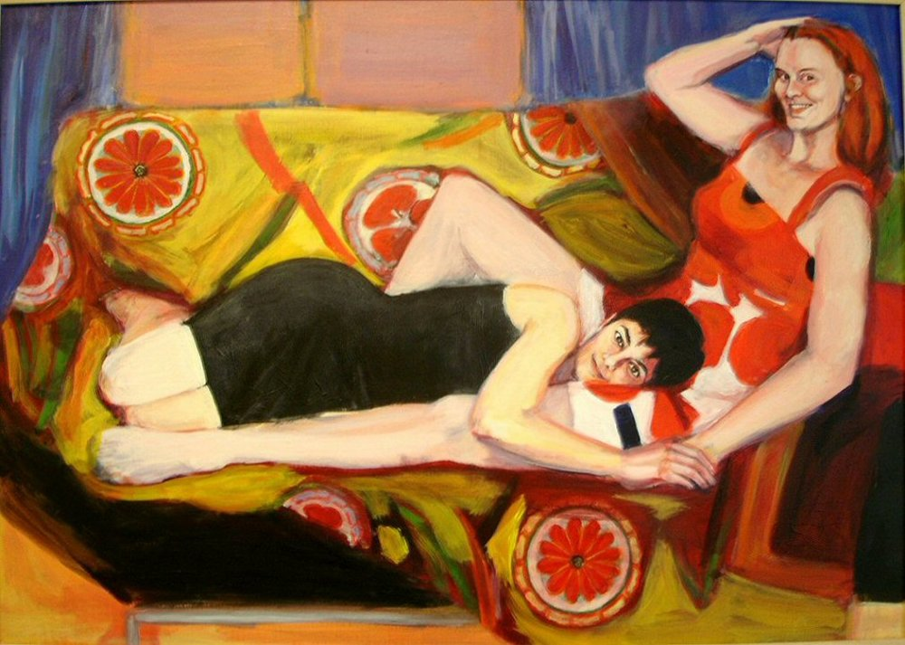 SHARON AND ELLIS IN PARIS (2005). Acrylic on canvas, 40 x 30 inches. Private collection, U.S.