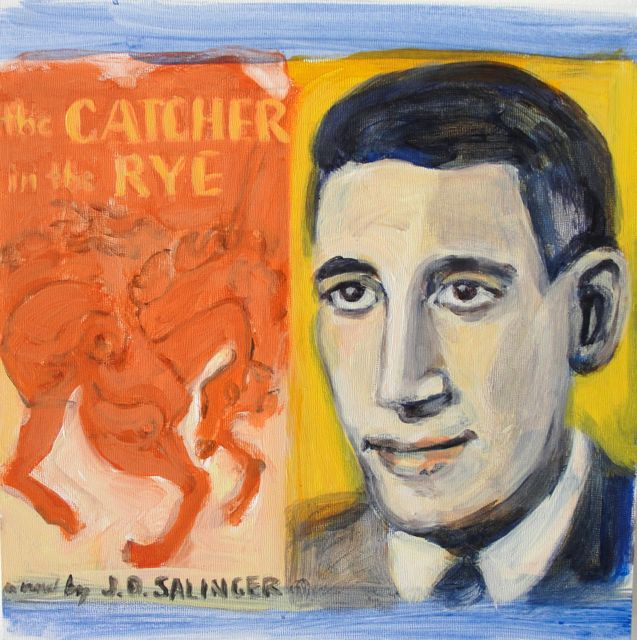 SALINGER AND HIS BOOK (2010). Acrylic on gessoed panel, 8 x 8 inches. Private collection, U.S.