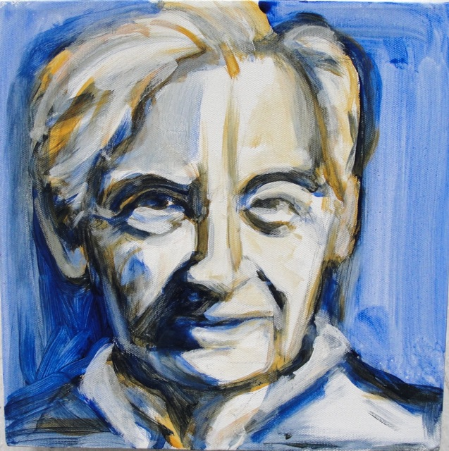HOWARD ZINN (2010). Acrylic on canvas, 12 x 12 inches