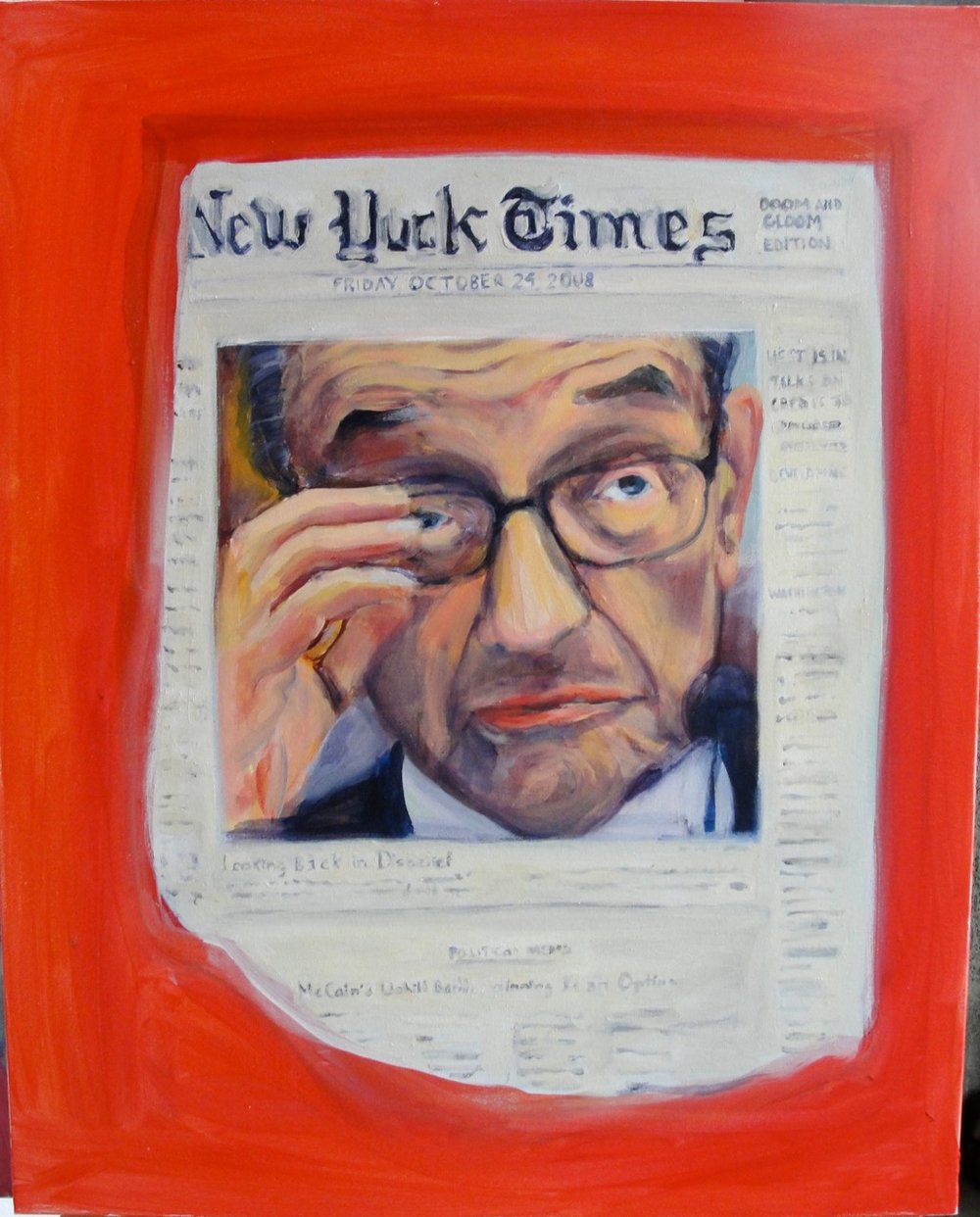 "GREENSPAN IN DISBELIEF (2010). Acrylic on canvas, 30 x 24"" inches. Private collection, U.S."