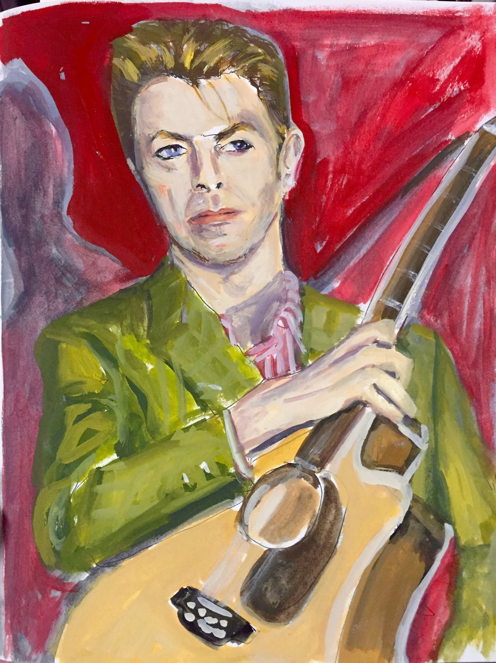 DAVID BOWIE (2015). Gouache on paper, 8 x 10 inches