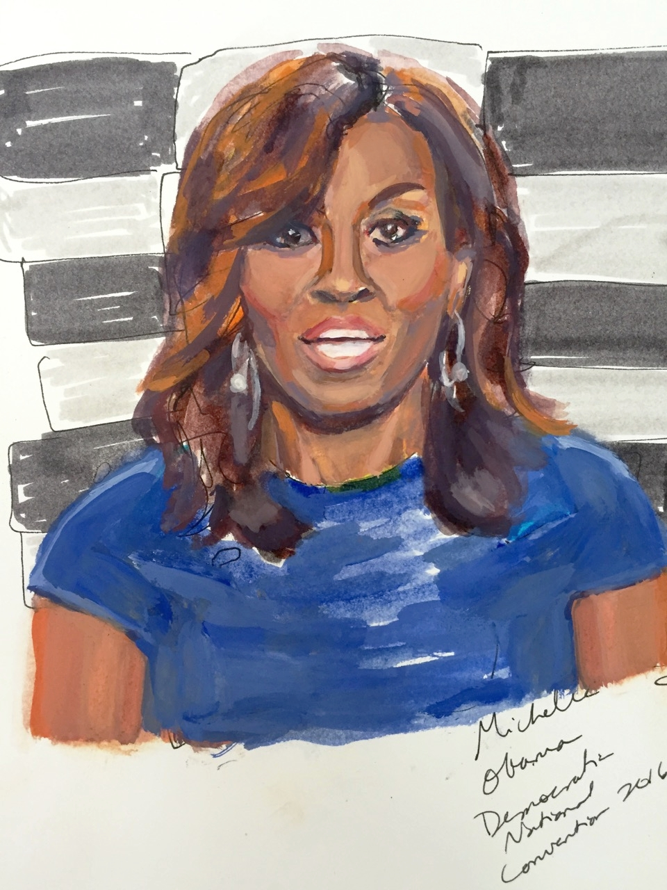 MICHELLE OBAMA (2016). Gouache on paper, 8 x 10 inches