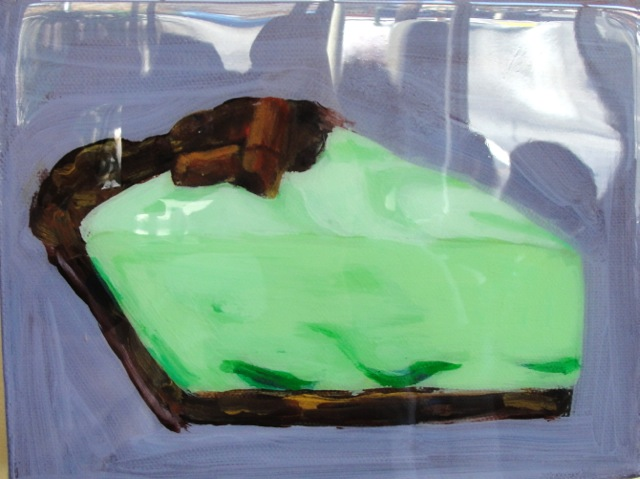 GRASSHOPPER PIE (2012). Acrylic and resin on canvas 8 x 6 inches. Private collection, U.S.