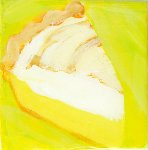 LEMON MERINGUE PIE (2012).Acrylic and resin on canvas 6 x 6 inches. Private collection, U.S.