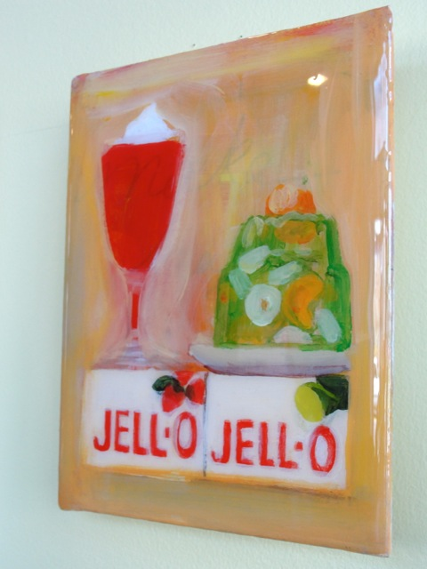 THERE'S ALWAYS ROOM FOR JELLO (2012). Acrylic and resin on canvas, 6 x 8 inches. Private collection, U.S.