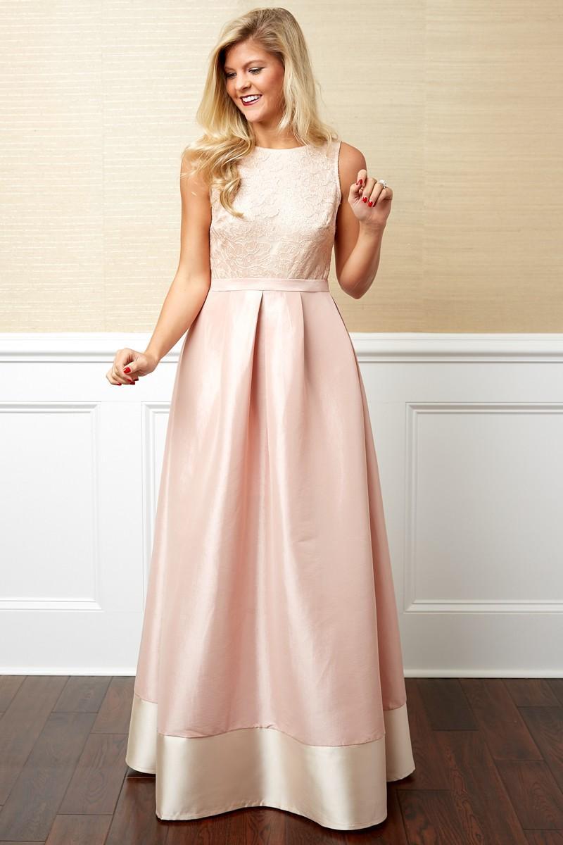 Girl wearing pink maxi dress