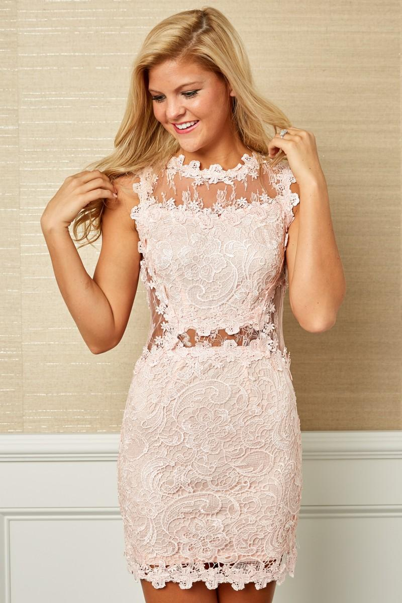 Girl in pink lace dress