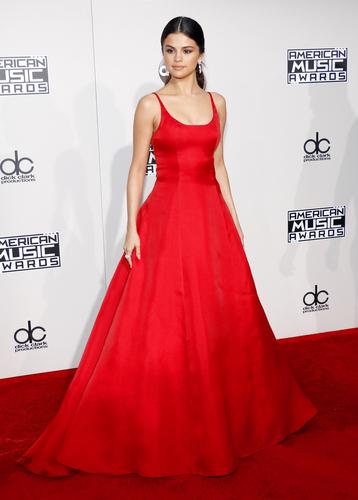 Selena Gomez wearing red dress