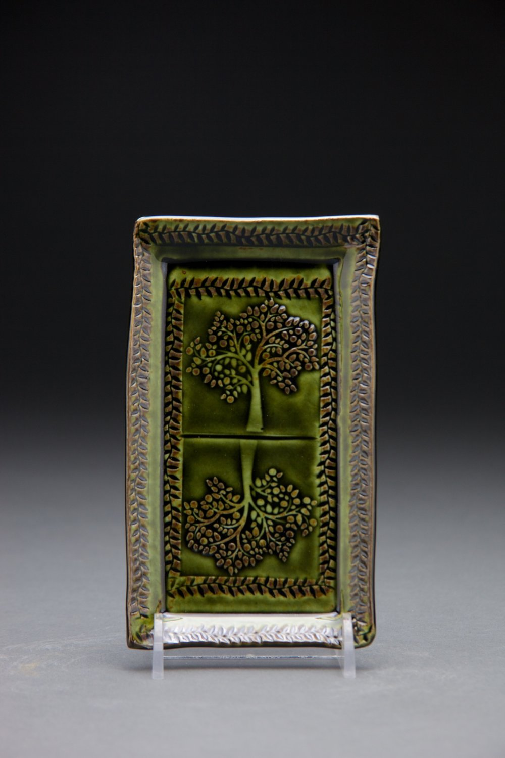 3x6 in. forest green glaze