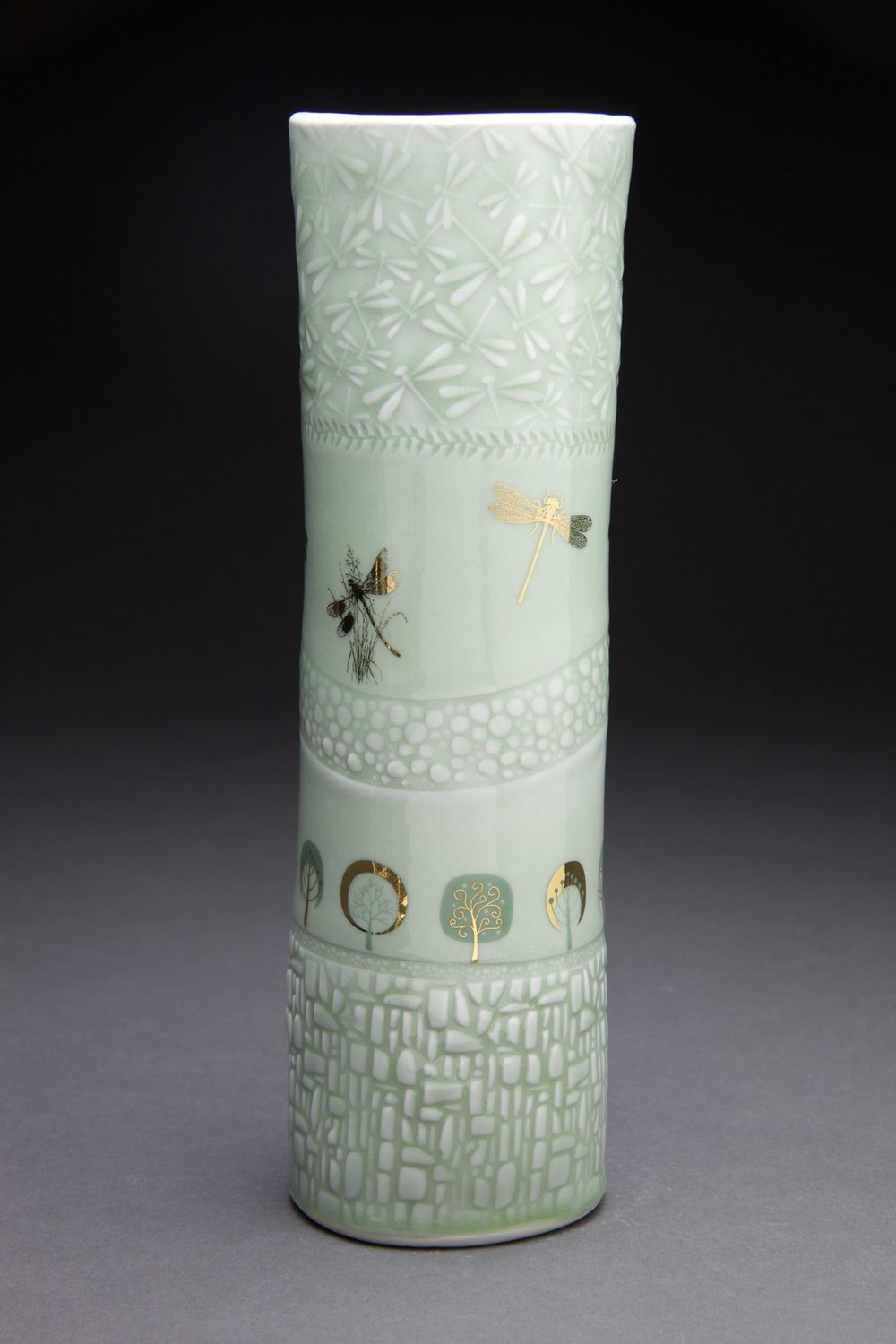 5x5x13 in vase. Light sage glaze with gold decals