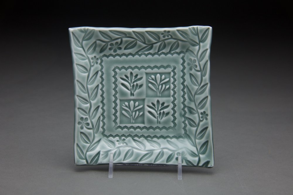 5x5 in. Steel blue glaze