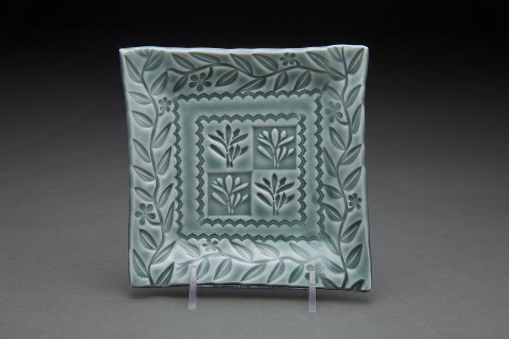5x5 in. Steel blue glaze