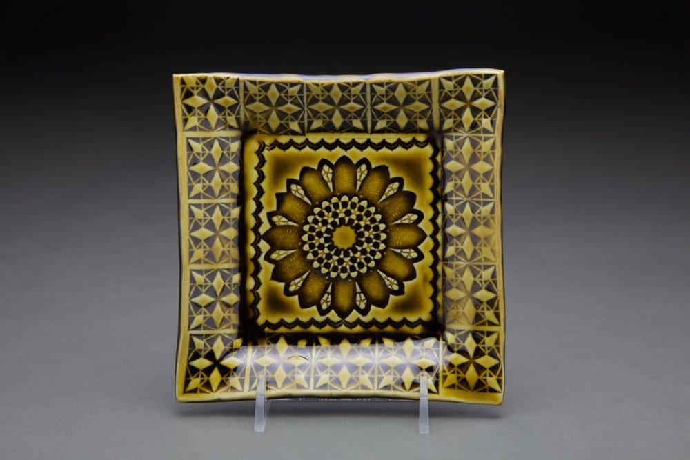 5x5 in. amber celadon glaze