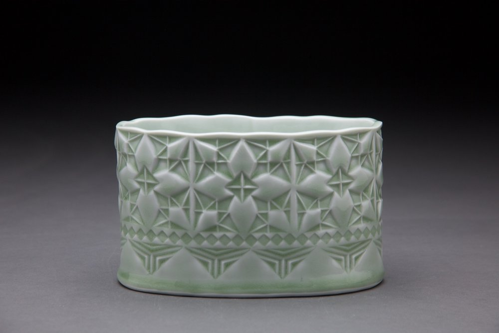 3x6x3 in vessel Light sage glaze